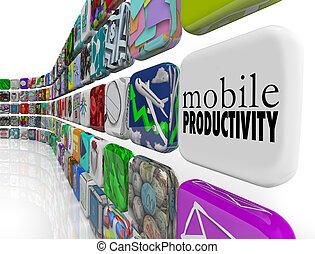 produktivitet, arbete, mobil, apps, remotely, gå, mjukvara