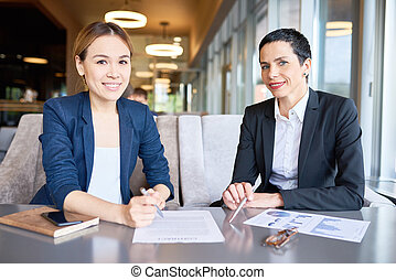 produktivt, möte, av, affärsverksamhet partner