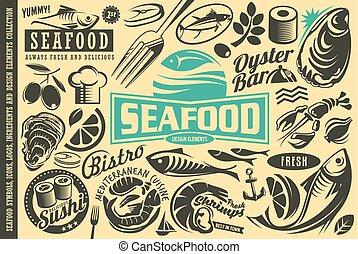 produkty morza, elementy, projektować, zbiór, restauracja