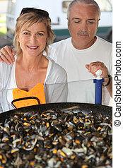 produkty morza, stać, żonaty, stał, para