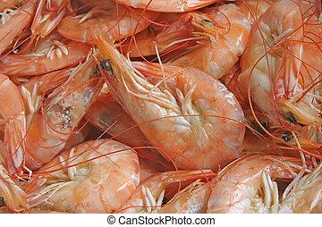 produkty morza, upieczony, krewetki, świeżo