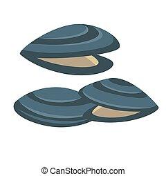 produkty morza, wektor, smakowity, świeży, mussel., icon.