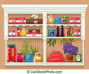 produrre, cibo, conservato, fresco, bottiglie, casa, vetro