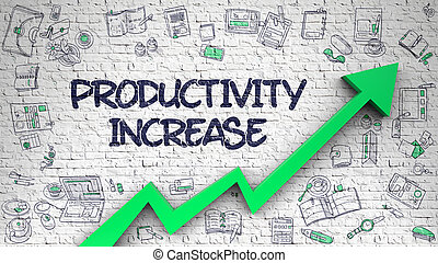 produtividade, aumento, desenhado, ligado, tijolo, wall., 3d.