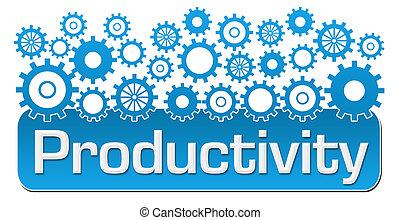 produtividade, azul, engrenagens, cima