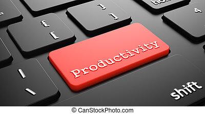 produtividade, botão, vermelho, teclado