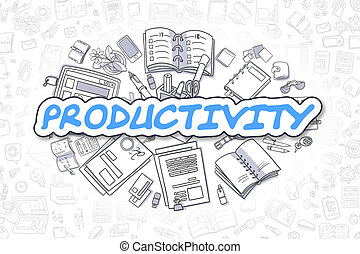 produtividade, -, caricatura, azul, text., negócio, concept.