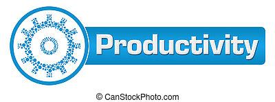 produtividade, com, pontilhado, engrenagem, azul, horizontais