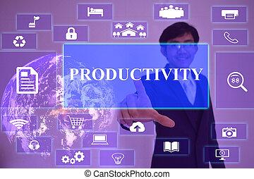 produtividade, conceito, apresentado, por, homem negócios, tocar, ligado, virtual, tela, elemento, fornecido, por, nasa