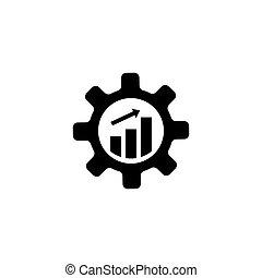 produtividade, engrenagem, dente, com, crescendo, gráfico, apartamento, vetorial, ícone