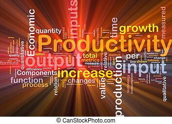 produtividade, fundo, conceito, glowing