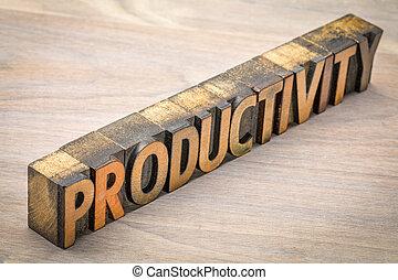 produtividade, palavra, em, letterpress, madeira, tipo