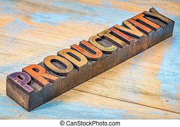 produtividade, palavra, em, madeira, tipo