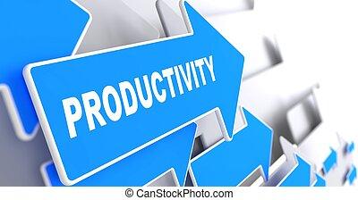 produtividade, palavra, ligado, azul, arrow.