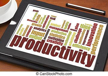 produtividade, palavra, nuvem
