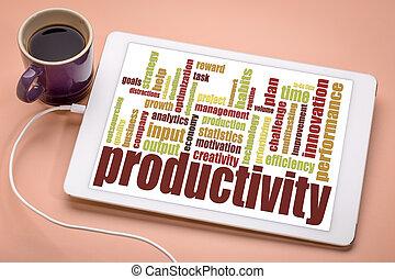 produtividade, palavra, nuvem, ligado, tablete digital