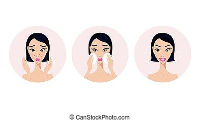 produto, aplicando, beleza, acne, rosto, skincare, passos, tratamento, menina