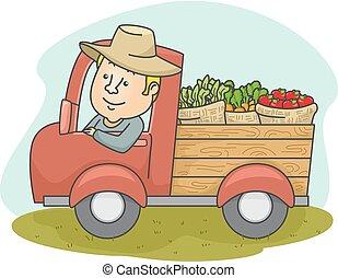 produto, caminhão, homem, agricultor