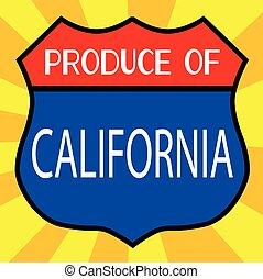 produto, de, califórnia, escudo