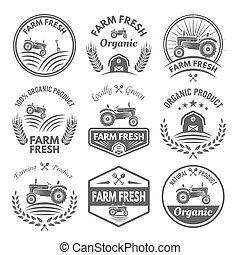 produto, fazenda, etiquetas, emblemas, vetorial, fresco