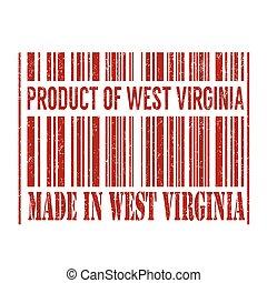 produto, feito, selo, virginia oeste, barcode, virgínia