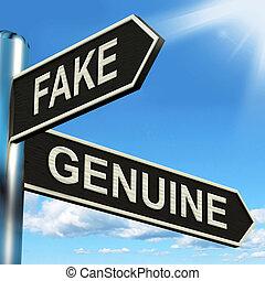 produto, genuíno, signpost, imitação, fraude, autêntico, ou,...