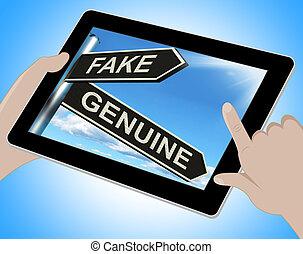 produto, genuíno, tabuleta, imitação, fraude, autêntico, ou,...