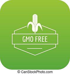 produto, gmo, livre, vetorial, verde, ícone