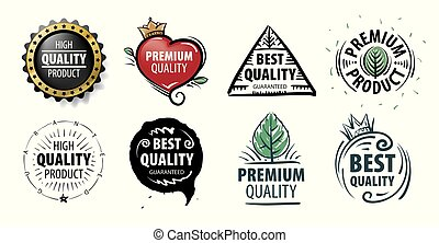 produto, mão, vetorial, desenhado, marca, qualidade, melhor