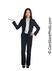produto, mulher, mostrando, negócio, asiático
