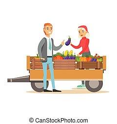 produto, mulher, natural, fresco, trabalhando, fazenda, legumes, carreta, vender, comprando, agricultor, agricultura orgânica, mercado, homem