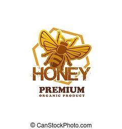 produto, prêmio, abelha, mel, vetorial, ícone