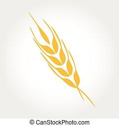 produto, trigo, natural, vetorial, desenho, logotipo, orelhas, template., ícone