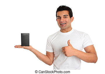produto, vendedor, cima, polegares, aprovação, consumidor,...