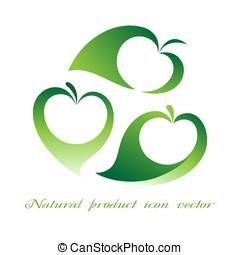 produto, vetorial, natural, ícone