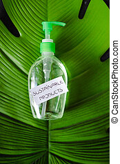 produtos, consciência ambiental, etiqueta, conceito, tropicais, escuro, sustentável, produto limpando, folha, fundo