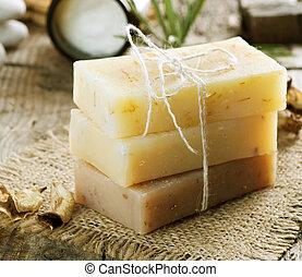 produtos, feito à mão, sabonetes, spa, closeup.