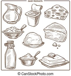 produtos leiteria, de, natural, leite, monocromático, esboços, jogo