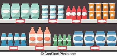 produtos, vetorial, supermercado, ilustração, prateleiras
