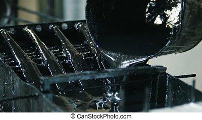 produzieren, glasfaser, stangen, -, herstellung, von,...