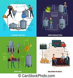 produzione, birra, concetto, disegno, cartone animato