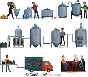 produzione birra, set, cartone animato