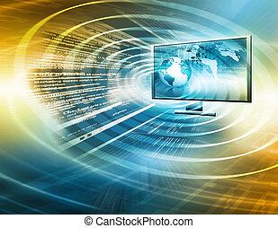 produzione, televisione, concetto, tecnologia, internet