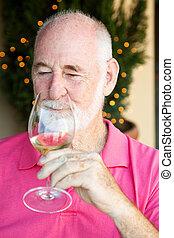 proeft, foto, -, wijntje, senior, liggen, man