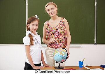 prof, à, école