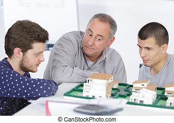 prof, à, étudiants, dans, architecture, école