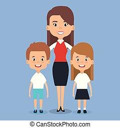 prof, école, caractère, enfants, avatar