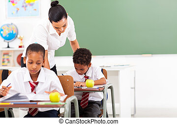 prof, école, soucier, élémentaire