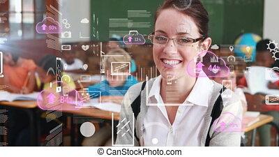 prof, écoliers, groupe, femme, animation, caucasien