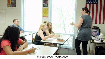 prof, étudiants, conférence, donner